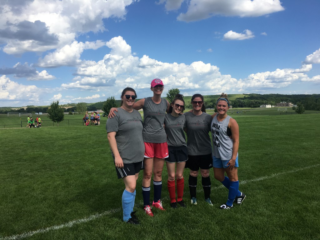 The frank Agency's women's soccer team at the 2016 Kansas City Corporate Challenge event
