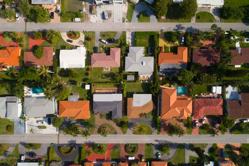 Overhead picture of lots of houses and prospective direct-mail recipients.